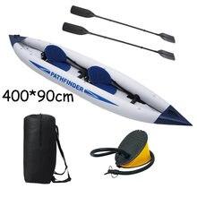 Горячая Продажа 2 человек следопыт каноэ надувная лодка 400*90 см, включают ножной насос, пластиковые весла,2 сидения. надувные каноэ A08002