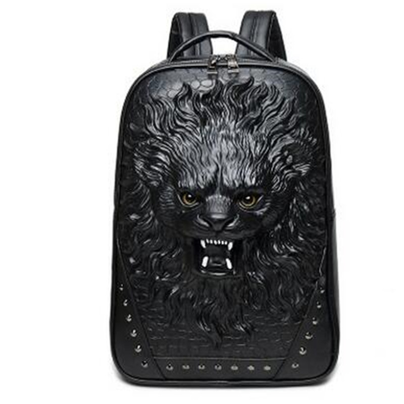 Black Gold Silver Men Retro Rivet Backpack Unique PU Leather 3D Travel Bag Punk Rivet Animal Printing Waterproof Men Laptop Bags игровой центр pilsan шарики для бассейна 100шт 6410plsn