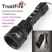 TrustFire df003 Дайвинг фонарик 100 м Подводные 3000 люмен 3T6 3 х CREE xm-l T6 Водонепроницаемый светодиодный фонарик и 2*26650 Батарея и Зарядное устройство
