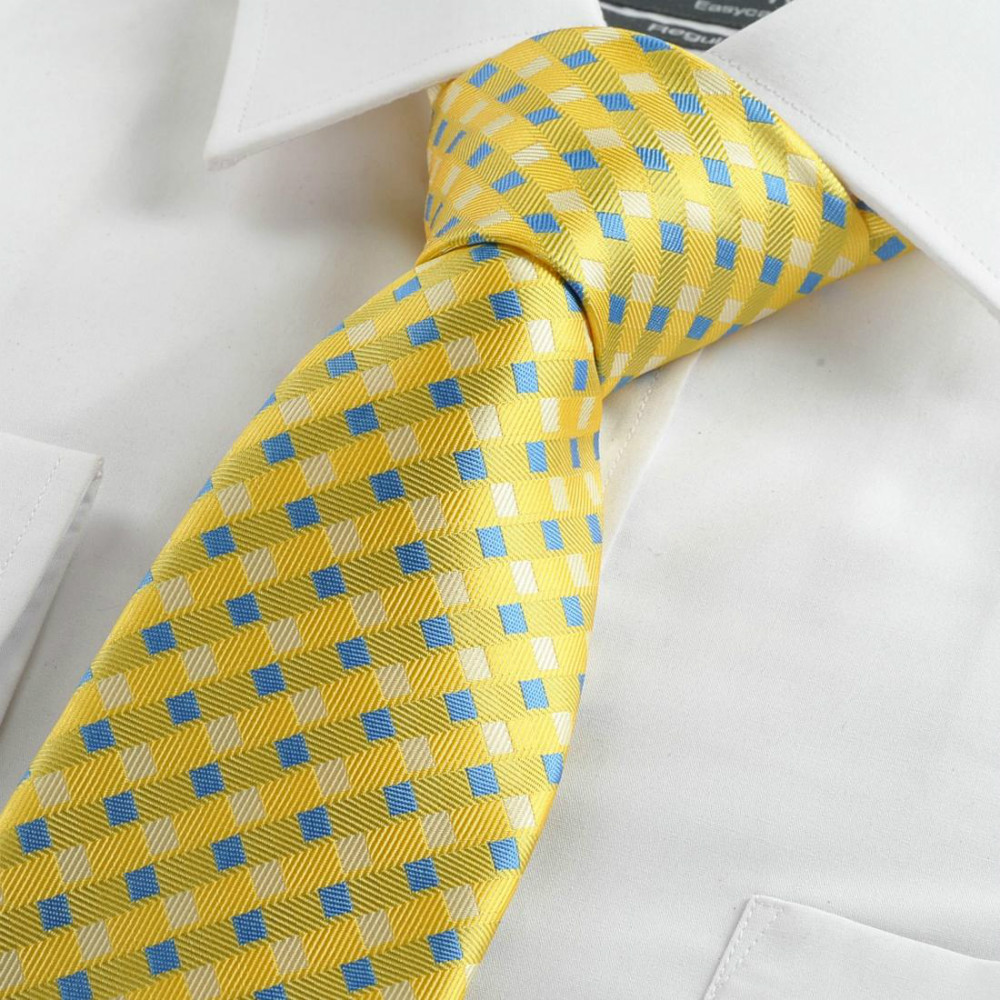 Fashion Yellow Neck Tie Men Blue Plaid Cross Classic Jacquard Woven Necktie Ties suit Casual Commercial Events Holiday Gift - xtopmall store