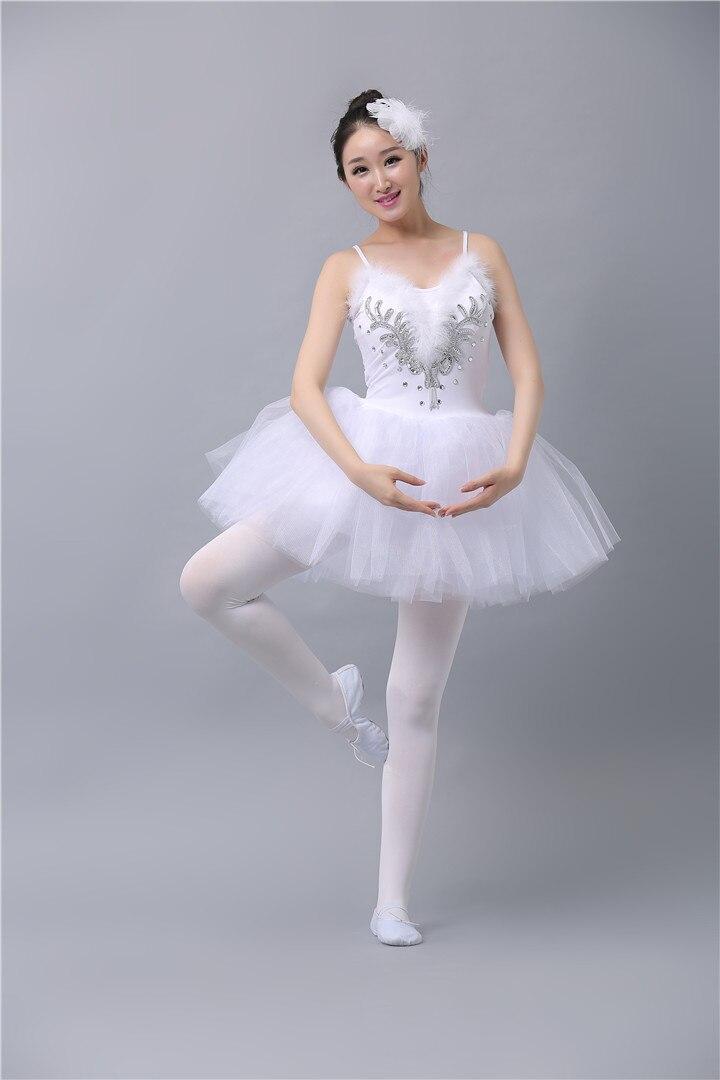 US $14.46 9% OFF|Weiß Schwanensee Ballett Kleid Erwachsener Professionellen Platter Tutu Kleid Pailletten Frauen Mädchen Ballerina Kleid Riemen
