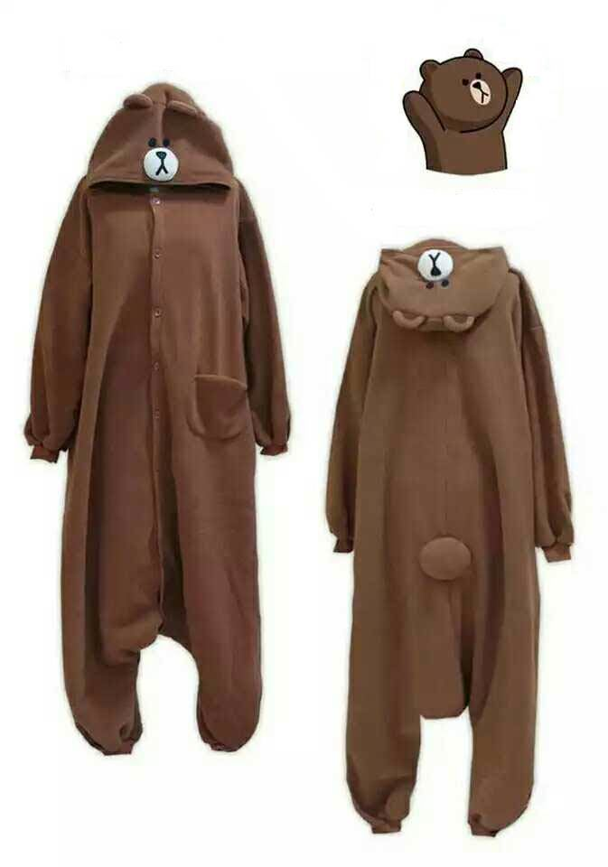 Cosplay Jumpsuit Pizamas Romper Party Carnival Christmas Costumes Brown Bear Pizamas Մեծահասակների Onesie Rabbit Sleepwear Costume