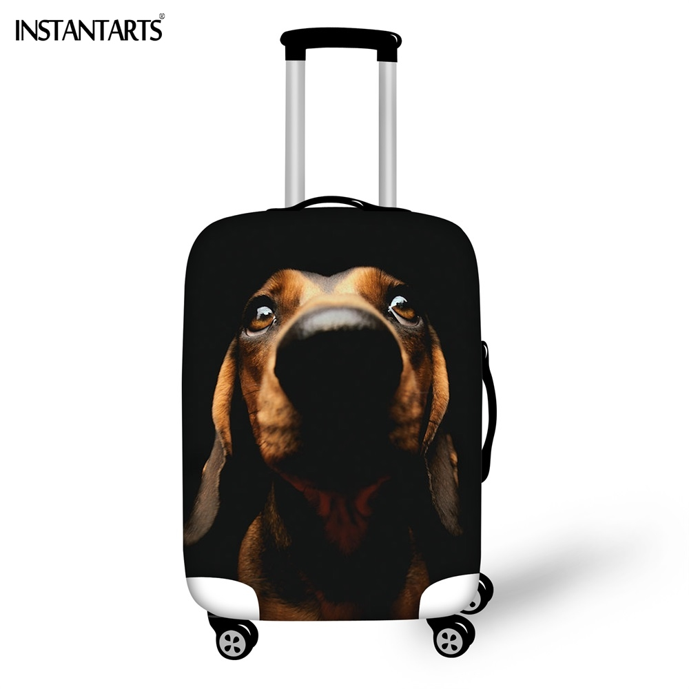 INSTANTARTS Funny Dachshund Yorkshire Terrier Dog Print Luggage Waterproof Thicken Covers For 18-30 Inch Travel Trolley Suitcase