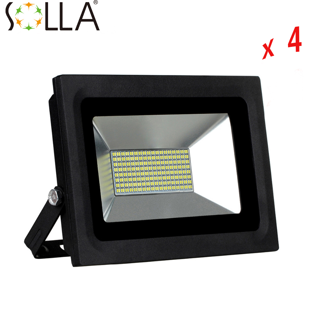 4 Pcs/Lot  220V 110V 100W LED Floodlight Spotlight Lighting LED Flood Light Lamp Warm Cold White Waterproof IP65 LED lighting ultrathin led flood light 100w led floodlight ip65 waterproof ac85v 265v warm cold white led spotlight outdoor lighting