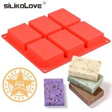 6 Полость силиконовая форма для изготовления мыла 3D Обычная форма для мыла Прямоугольная форма для мыла ручной работы