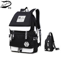 FengDong 2pcs black and white USB Port backpack for teenagers men travel bags one shoulder male sling chest bag set school bags