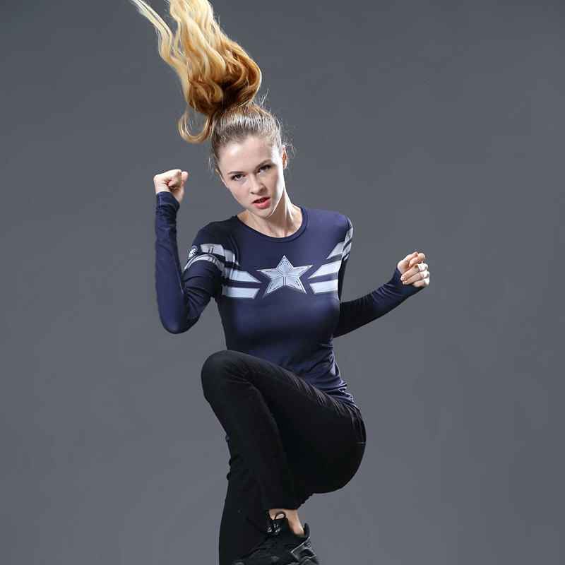 Captain America 3D Printed T-shirts Women Compression Shirt Slim Long Sleeve Cosplay Marvel Costume For Ladies Tops Female