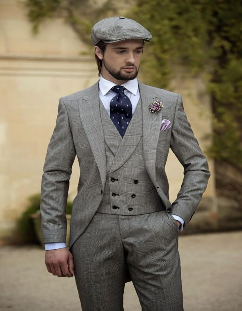 2018 vintage grey mens suits peaked lapel wedding suits for men groom tuxedos for men one button. Black Bedroom Furniture Sets. Home Design Ideas