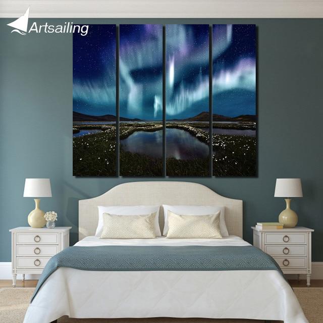 4 stuk canvas schilderij night landschap sterrenhemel wanddecoraties ...
