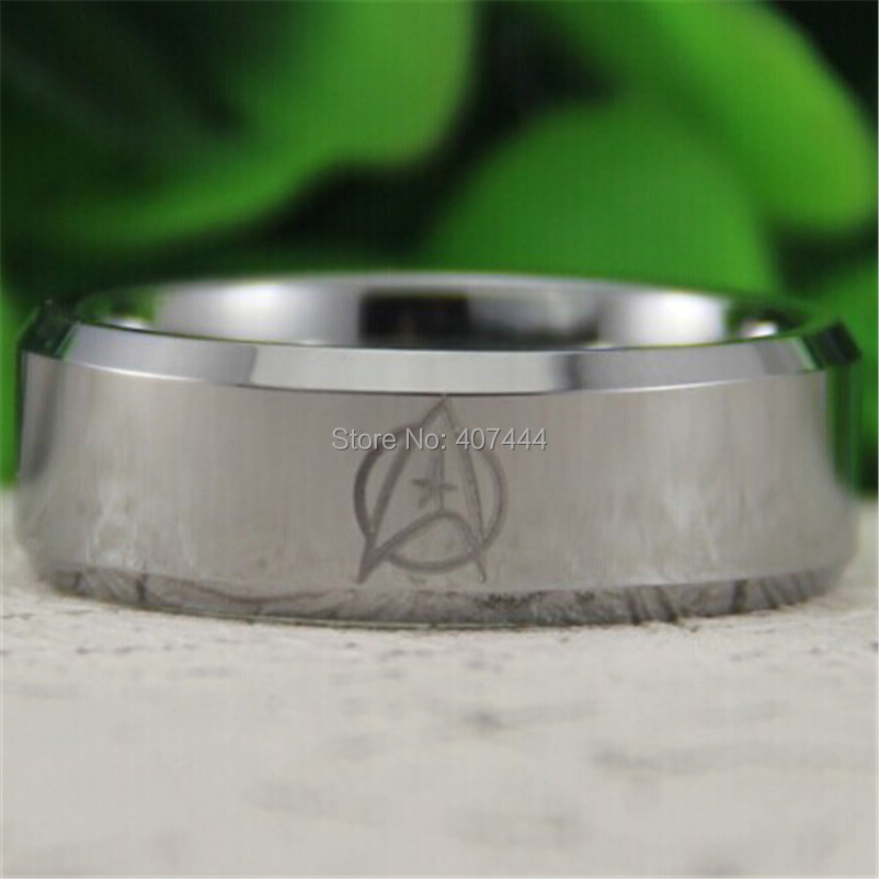 free shipping usa uk canada russia brazil hot sales 8mm silver bevel star trek design mens comfort fit tungsten wedding ring - Star Trek Wedding Ring