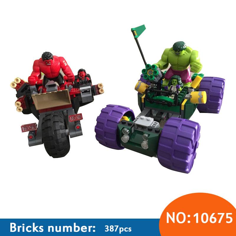 10675 387pcs Marvel Super Hero Hulk Vs Red Hulk Team Vehicle Building Block Compatible 76078 DIY Bricks Toy