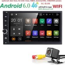 """7 """"2Din Universal Android 6.0 Quad Core 1024*600 Tablet PC Del Coche Gps Radio Vídeo Reproductor de Audio Del Coche Wifi Headunit (Sin DVD)"""