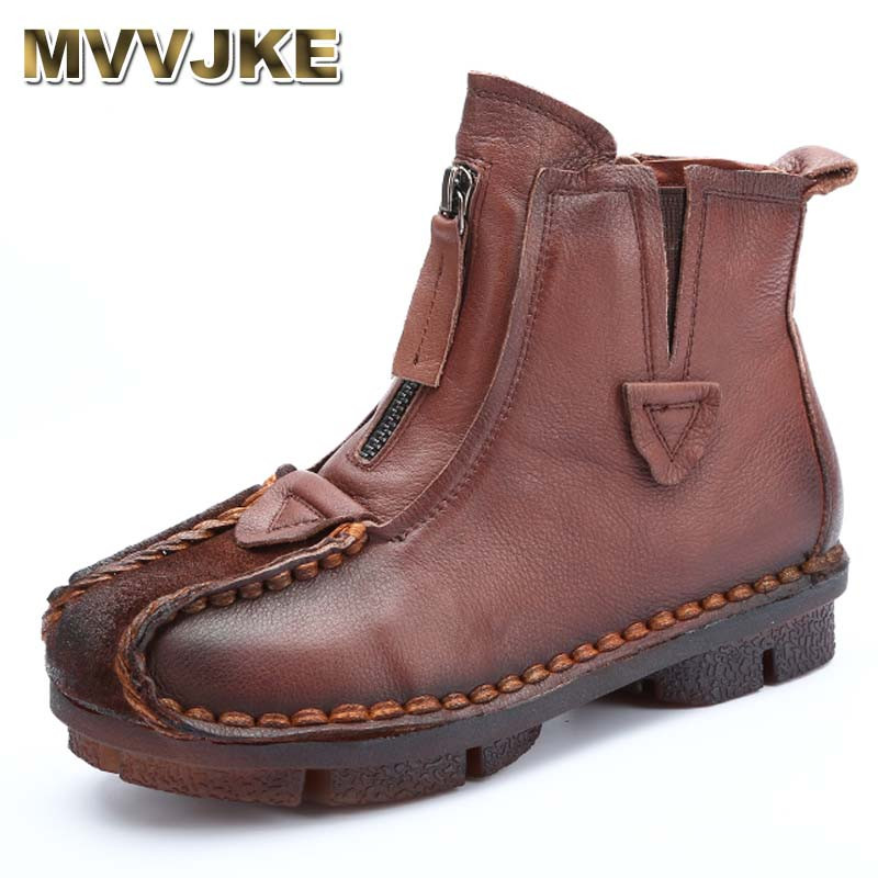 MVVJKE Genuine Leather Ankle Boots Velvet Handmade Lady soft Flat shoes comfortable Casual Moccasins Women's shoes lady s skullies womail delicate pregnant mothers soft velvet cap maternal prevention wind hat w7