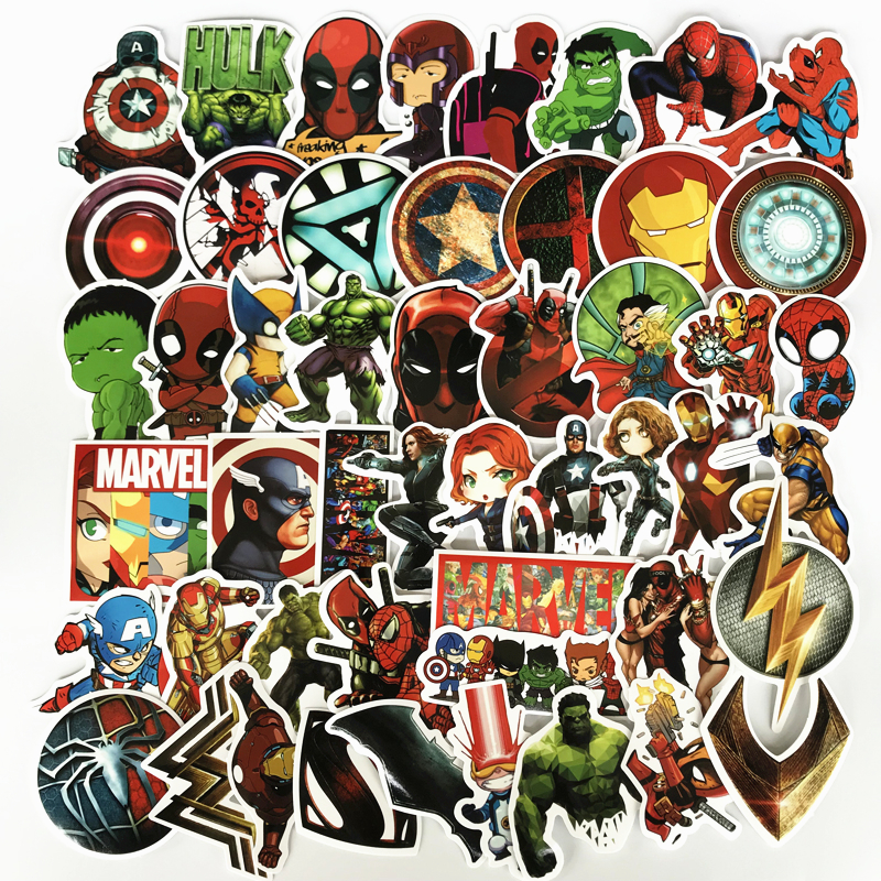 new-50pcs-lot-marvel-anime-classic-stickers-toy-for-laptop-skateboard-luggage-decal-waterproof-funny-spiderman-stickers-for-kid