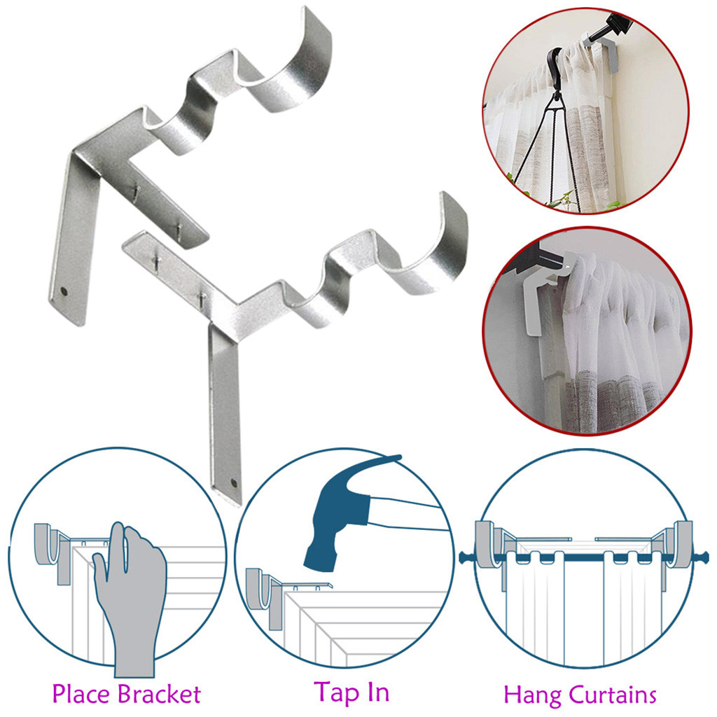 1 Pair Hang Curtain Rod Holders Tap Right Into Window Frame Curtain Rod Bracket Wall Hanging Tool Curtain Decorative Accessories window frame curtain rod brackets
