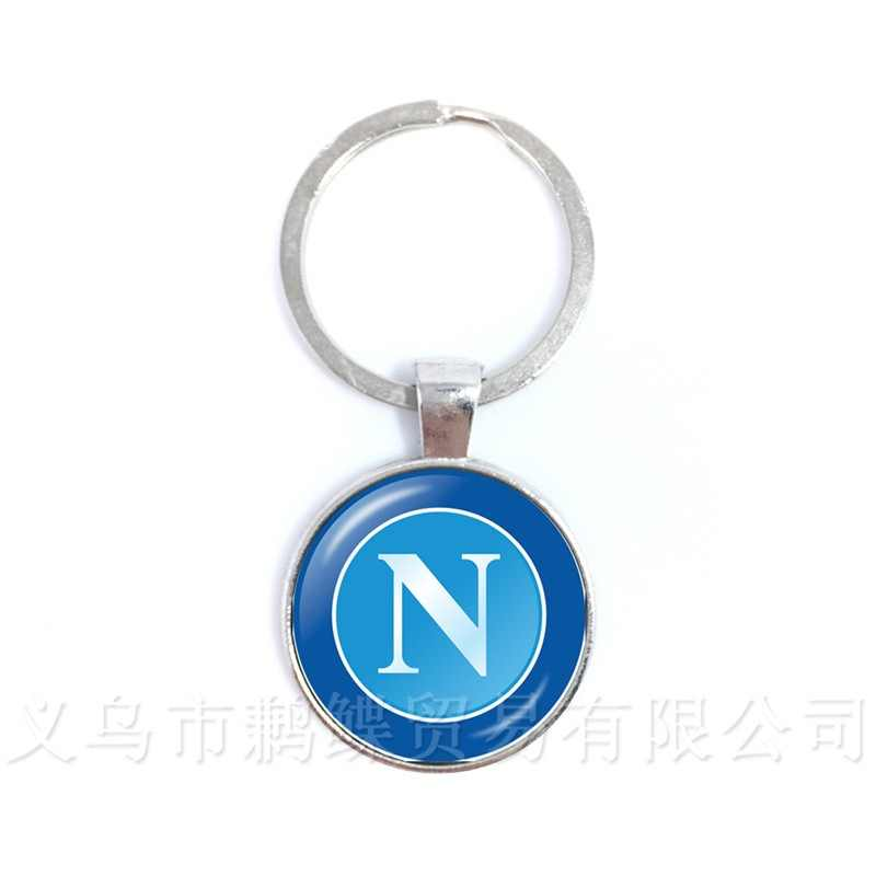 Football Team Logo Glass Keychain Italian Football League Football Team Logo 25mm Glass Dome Keyring For Football Funs