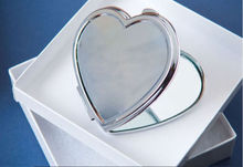 Blank Heart Metal Compact Mirror Makeup Cases Silver Colour DIY TWO side