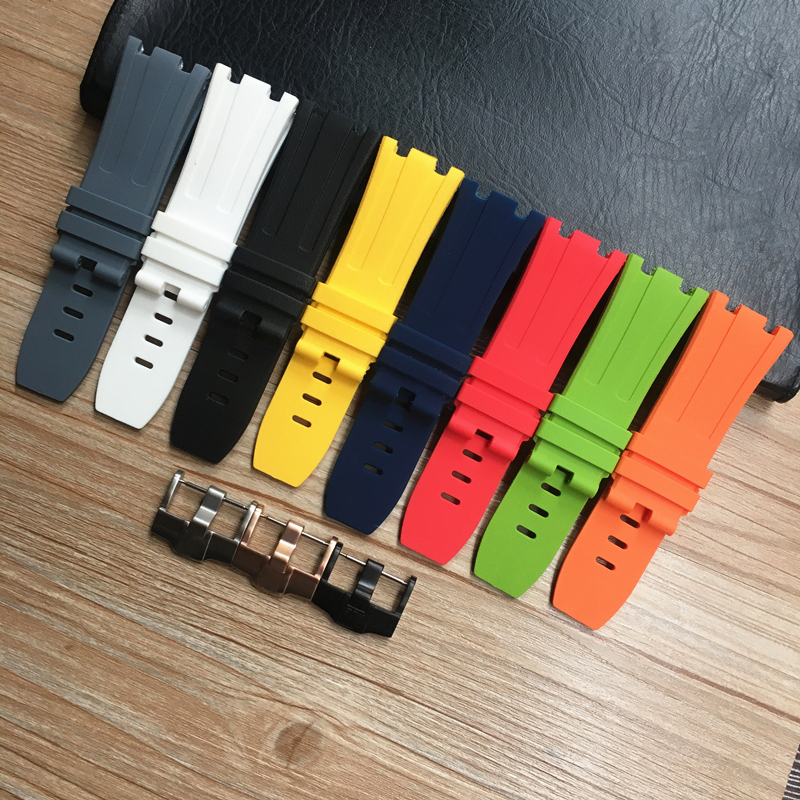 28mm Soft Black White Green Yellow Orange Gray Blue Red Silicone Rubber Watch Strap Bracelet For AP ROYAL OAK Watchband BeltWatchbands   -