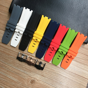 Image 1 - 28mm Soft Black White Green Yellow Orange Gray Blue Red Silicone Rubber Watch Strap Bracelet For AP ROYAL OAK Watchband Belt
