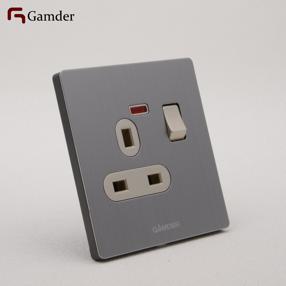 Uk Wall Power 3 Pin Socket With Switch Gamder 304 Stainless Wiring Steel Wire Drawing Panel Champagne 110 250v 13a Livolo On Alibaba Group