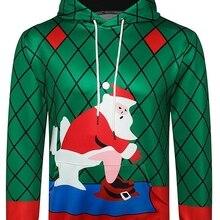 5cb281ec53d992 Mężczyźni boże narodzenie bluza święty mikołaj drukowane kieszeń Kanga  swetry swetry zimowe na co dzień paski netto bluza zielon.