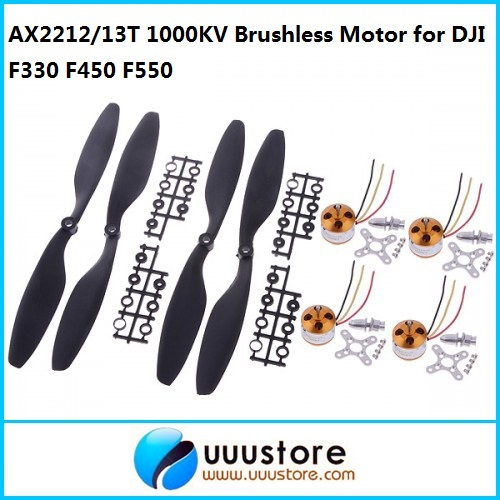 AX2212/13T 1000KV Brushless Motor for DJI F330 F450 F550 MWC Multicopter 4pcs w/2 pairs 10*4.5 blades