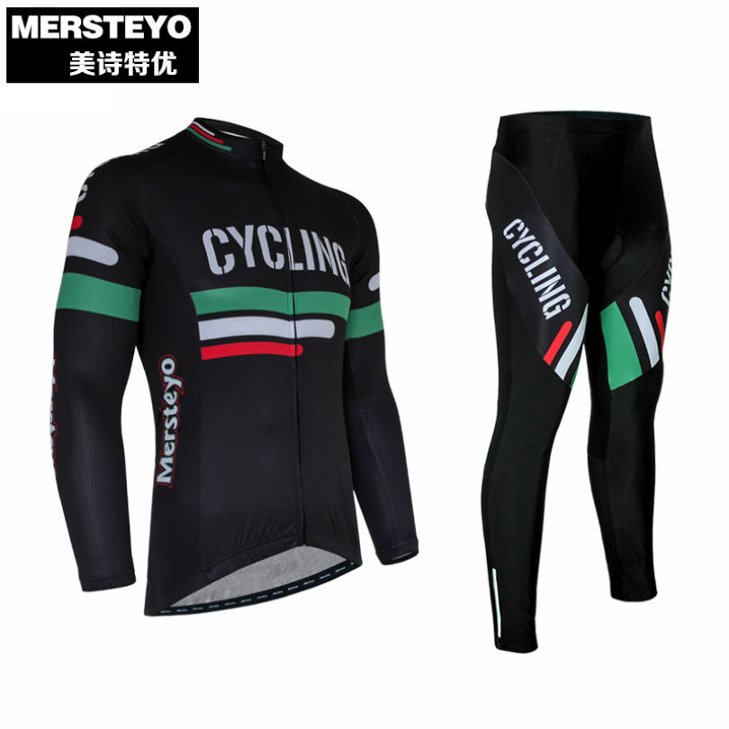 MERSTEYO Cycling Jersey Men Ropa Ciclismo Jackets Sport Clothing Bike Long Sleeve Bicycle Jersey Top Pants Set Black 2016 new men s cycling jerseys top sleeve blue and white waves bicycle shirt white bike top breathable cycling top ilpaladin
