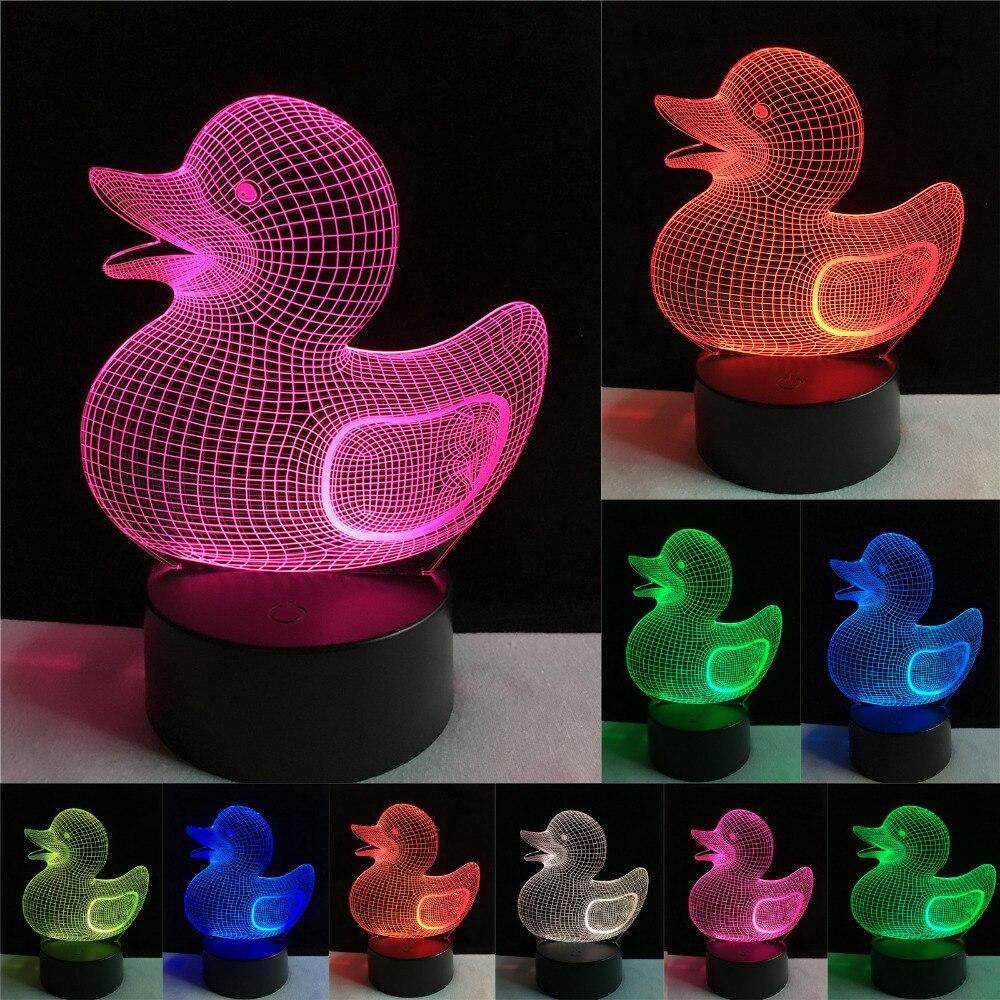 Dessin Animé de Mode chaude Belle 3D Canard Visuel 7 Couleur Gradient Gradation Lumière de nuit LED Illusion Table Lampe Enfant Couvercle De Noël Jouet Cadeaux