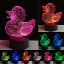 Hot Fashion Cartoon Lovely 3D Duck Visual 7 Color Gradient Dimming Night Light LED Illusion Table Lamp Child Kid Xmas Toy Gifts