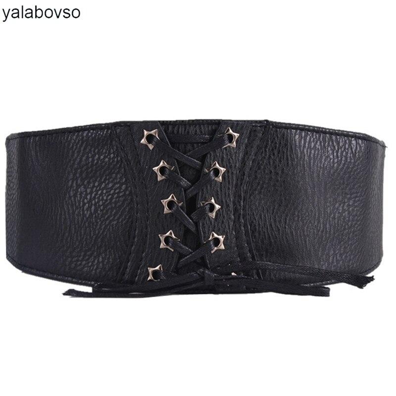 Yalabovso 2018 New PU Wide Elastic Waist Belt Black Brown Red White Color Bandage Belt For Dress Or Coat Woman Waistbelt Y001