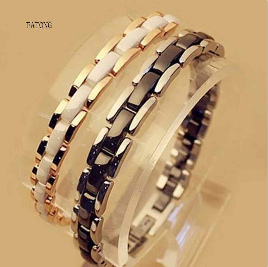 Luxury boutique ceramic bracelet single row double row steel rose gold couple European and American hot bracelet  t1177