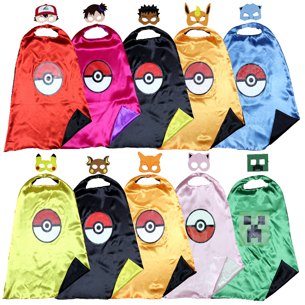 pokemon cape + topeng ash costume pikachu costume kids cape Pokemon GO party costume nikmat kosmetik ulang tahun kosmetik holloween