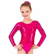 Детское металлическое трико с длинным рукавом для гимнастики, балета, танцев, трико для маленьких девочек, блестящий костюм из лайкры для выступлений на сцене