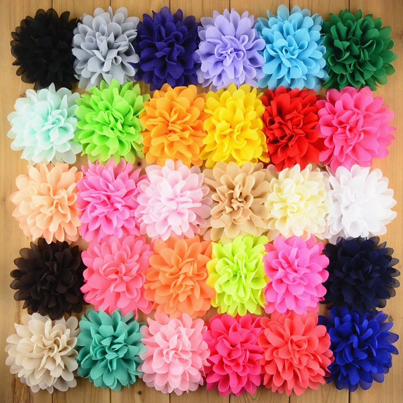 20pcs/lot U Pick Color 4 Inch Large Chiffon Fabric Puff Flowers DIY Hair Headband Accessories Corsage Supplies