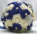 Envío Libre Azul y Perlas de Marfil Rose del Ramillete de Flores de La Boda Ramo de La Boda de Las Novias de La Vendimia Broches buque de noiva