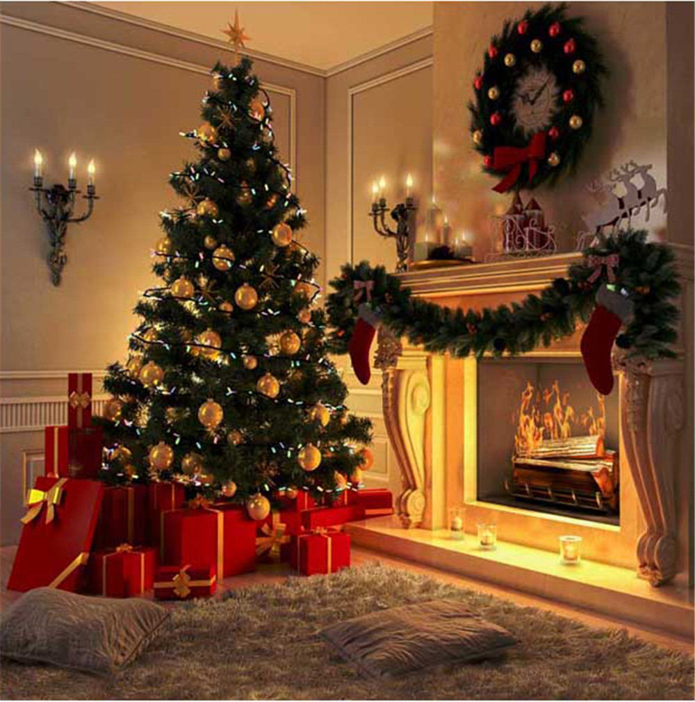 Indoor Fireplace Garland Merry Xmas Backdrop Printed Gift Boxes