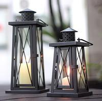 European Moroccan Metal Glass Candle Holder Antique Iron Candle Lantern Holder Candlestick Hanging Wedding Candle Holder