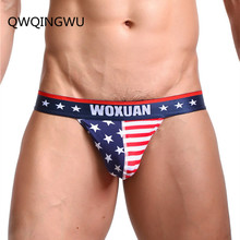 Nowa seksowna bielizna męska USA flaga drukuj moda męska majtki Sexy majtki niskie w talii bawełniana bielizna męska bielizna męska paski kalesony tanie tanio QWQINGWU spandex COTTON Figi W paski WX-USA-03