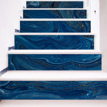 3d Dark Blue Marble Pattern Tile Wall Stairs Stickers Pvc Wall Sticker Removable Waterproof Mural Poster For Stair Room Decals все цены