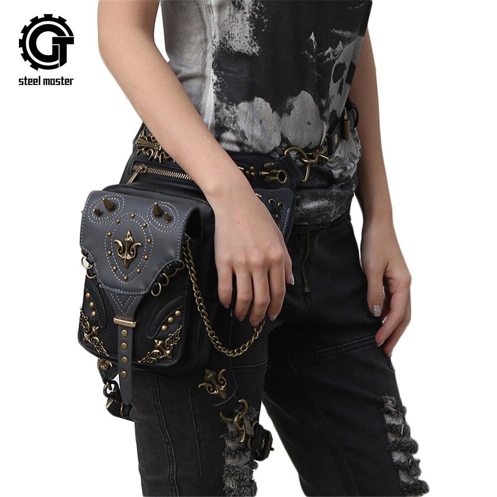 Steampunk taille sacs femmes moto jambe sacs Vintage femmes Messenger sacs noir gothique cuir sacs 2017 nouveauté