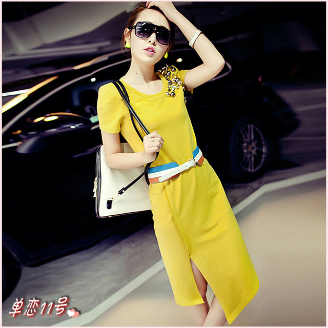 Goelia 2013 summer fashion multicolour long slim one-piece dress