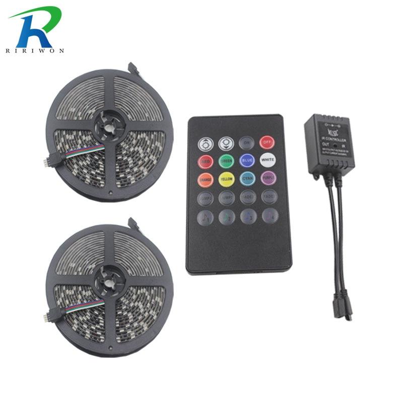 RiRi won black pcb 10M RGB Led Strip Light SMD 5050 Flexible Light 60Led/m Led Tape music remote controller no power supply