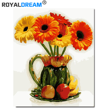 ROYALDREAM Gerbera DIY Painting By Numbers Acrylic Paint HandPainted Oil On Canvas