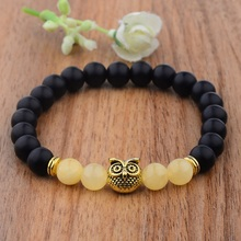 Amader 2018 Charm Owl Pendant Marble Beads Bracelet Ethnic Tiger Eye Men/Women Yoga Bracelet Natural Stone Bead Bracelet AB505