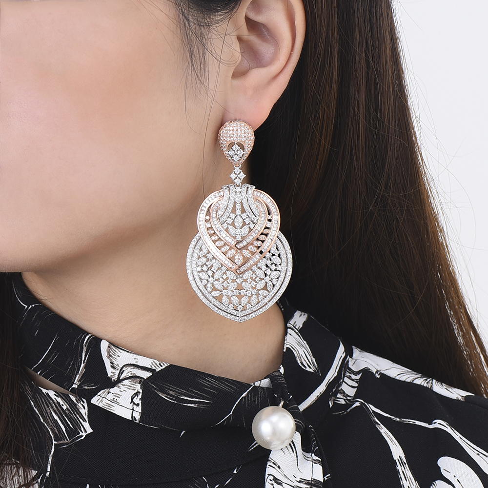 missvikki Handmade Fashion Jewelry Cubic Zirconia Heart Pendant Earring Sterling Silver Prevent allergy High Quality Fashion