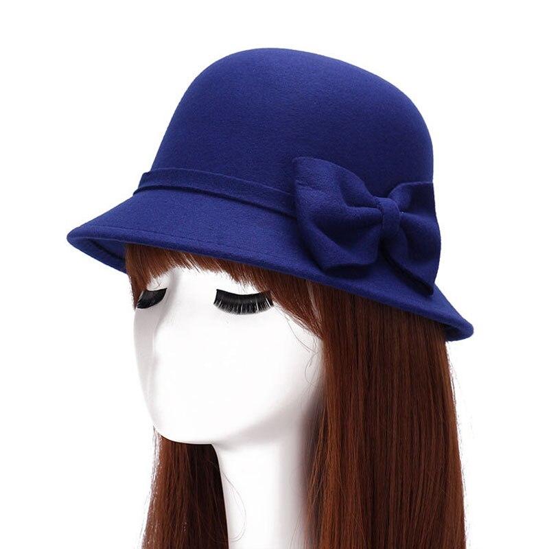 Autunno Inverno delle Donne Del Faux di Lana Feltro Fedora Cappello con  Fiocco Vintage Bowler Cappello c5b246da7423
