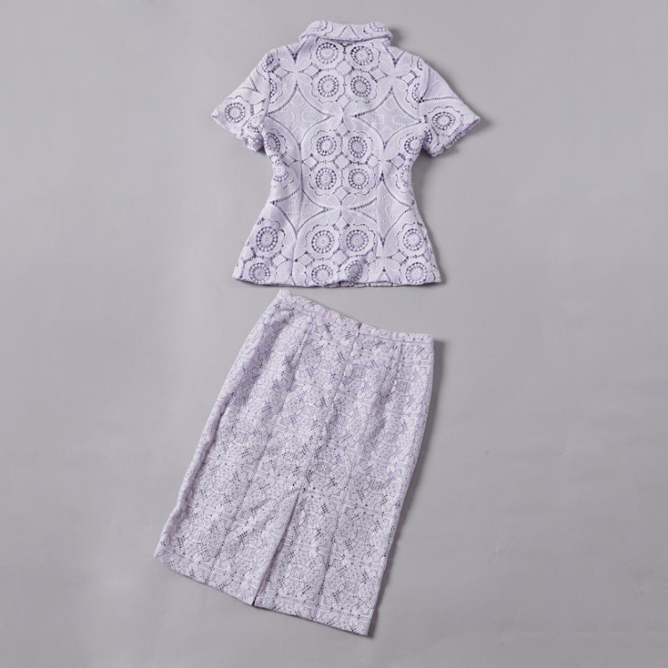 Soluble Flowers Lace Jacket with Skirt Suit Heavy Beading Runway Fashion Women Suit  (17)