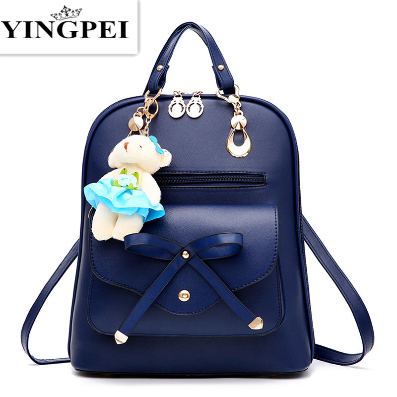 YINGPEI High quality PU leather backpack school travel bag women bolsos vintage backpacks black  For Girls Teenagers