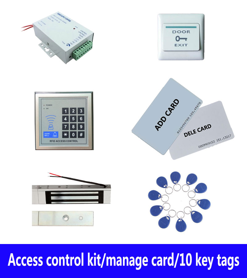 Access control kit,standalone access control+ power+180kg magnetic lock+exit button+2pcs manage card, 10 keyfob ID tags,sn:set-3