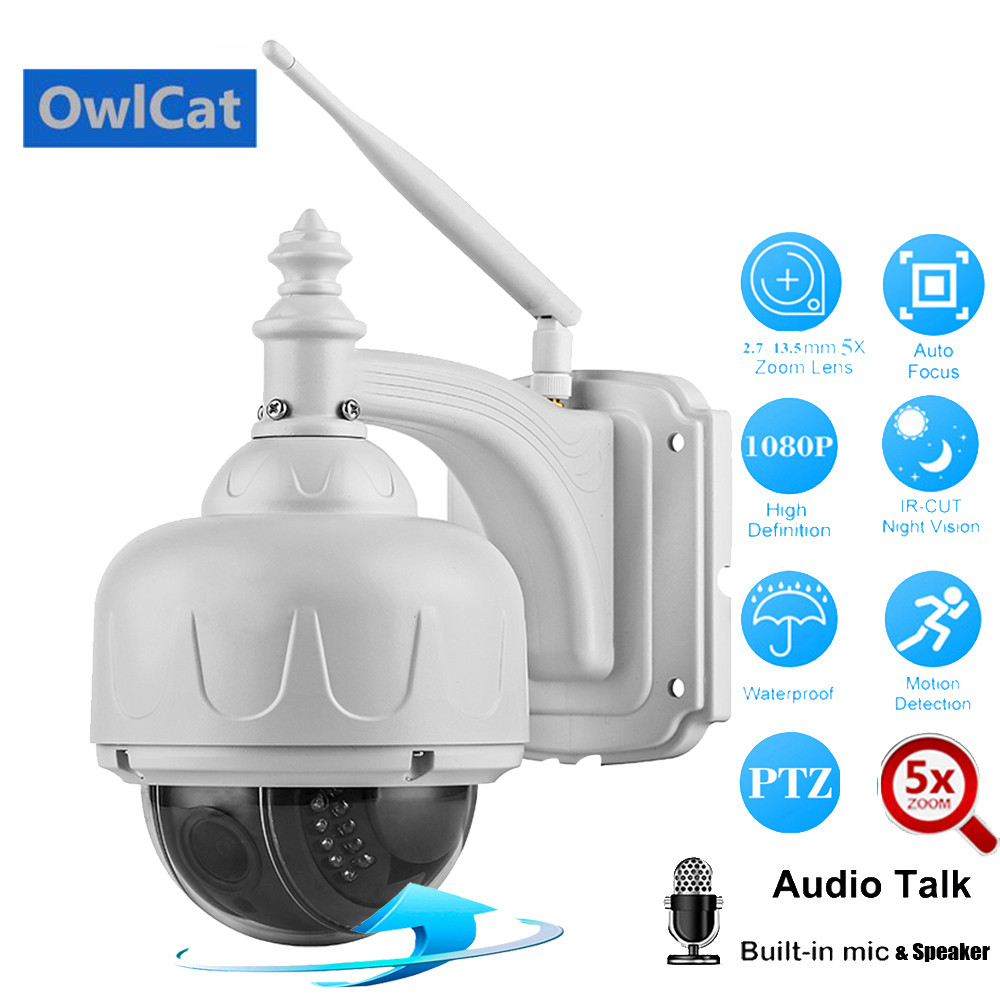 OwlCat Full HD 1080P 960P PTZ Dome Wireless IP Camera Wifi 5X Optical Zoom 2MP Two-way Audio Intercom Talk ONVIF P2P Memory SlotOwlCat Full HD 1080P 960P PTZ Dome Wireless IP Camera Wifi 5X Optical Zoom 2MP Two-way Audio Intercom Talk ONVIF P2P Memory Slot